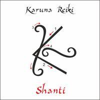 Karuna Reiki. Energía curativa. Medicina alternativa. Símbolo de shanti. Práctica espiritual. Esotérico. Vector