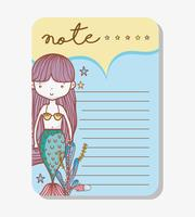 Note with mermaid cartoons