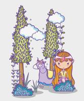 Magische Weltkleine Prinzessinhandzeichnungskarikatur