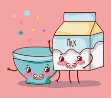 Caixa de leite e tigela vazia kawaii dos desenhos animados