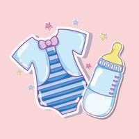 Gullig skjorta och babyflaska