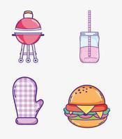 Desenhos de coleção de comida de verão