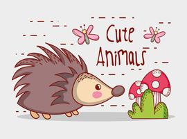 Porcupine in forest cute cartoon
