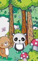 Osos en el bosque garabatos de dibujos animados.