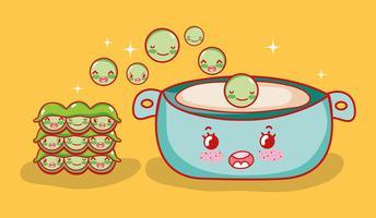 Desenhos animados de kawaii de comida japonesa de sopa de ervilhas
