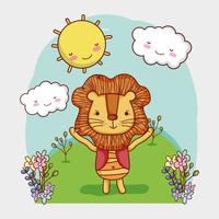 Cute lion on forest doodle cartoon
