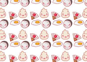 Japanese gastronomy background kawaii cartoons vector