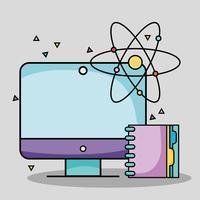 Computadora de pantalla con notebook y atomización de útiles escolares.