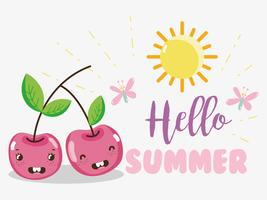 Hello sumer cute fruits concept