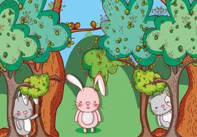 Dibujos animados de animales en el bosque.