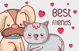 Dog and cat cute doodles cartoons