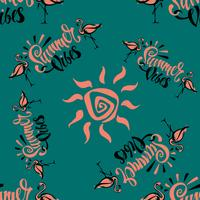 Seamless pattern. Flamingo. Summer viber. Lettering. Stylish summer print. Tropical. Green background. Vector.