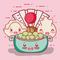 Japanese food cute kawaii cartoon vector