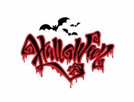 Halloween. All saints ' day card. Magic magic lettering with ominous drops flowing down.  Bat. Vector.