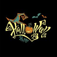 Halloween. All saints ' day card. Magical magic lettering. Funny cartoon pumpkin. Witch hat.  Bat. Vector.