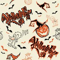 Seamless pattern. Halloween. Lettering. Funny cartoon pumpkin monster in witch hat. Bat. Cat monster. Orange background.Vector.