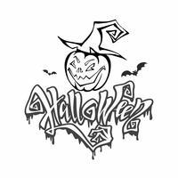 Halloween. lettrage magique et sinistre. Carte postale à colorier pour tous les saints. Dessin animé monstre citrouille dans un chapeau de sorcière. Vecteur.
