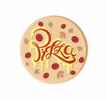 Pizza. Decorative lettering logo. Delicious postcard with melted cheese and ketchup inscription. Vector.