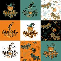 Naadloos patroon. Halloween. Belettering. Grappige cartoon pompoen monster in heks hoed. Knuppel. Cat monster. Patchwork afdrukken. Geruite achtergrond. Vector.