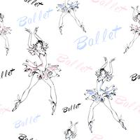 Modello senza soluzione di continuità Balletto. Ballerine danzanti Iscrizione. Illustrazione vettoriale