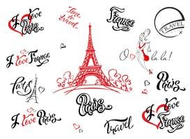 Paris. France. Set of elements for design. Eiffel tower sketch. Inspiring lettering. Label templates. Girl model.Vector.