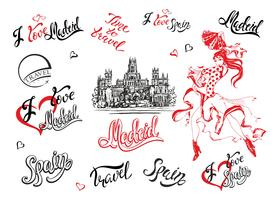 Spain. Set of elements. A sketch of the Cibeles Palace in Madrid. Stylish lettering. The dancing Spanish girl in a national dress. Inscriptions. Flamenco. Vector.