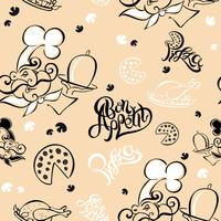 Seamless pattern. Chef. Kitchen theme. Logotype. Cook. Bon appetit. Pizza. Stylish lettering. vector illustration.