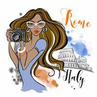 O turista da menina viaja a Roma em Itália. Fotógrafo. Viagem. Vetor