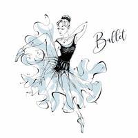 Ballerina. Ballet. Wilis. Dancing girl on Pointe shoes. Vector.
