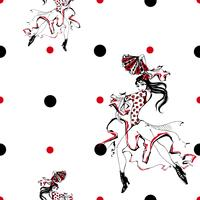 Girl dancing flamenco. Seamless pattern. Gypsy. Polka dot background. White. Vector.