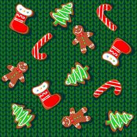 Knitted fabric with gingerbread and snowflakes. Seamless pattern. Vector.