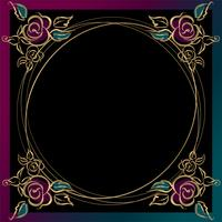 The frame is round. Roses. Gold. Vector illustration