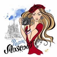 Mädchentourist in Russland. Moskau. St. Basil Kathedrale. Reise. Vektor
