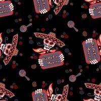 Tag der Toten. Schädel in Sombrero. Nahtloses Muster. Vektor-illustration