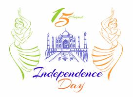 India independence day. Greeting card.  Dancing Indian girls.  Taj Mahal Palace. Vector illustration.