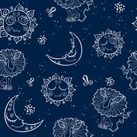 Ett roligt sömlöst mönster för barn. Zodiac tecken Leo. Vektor
