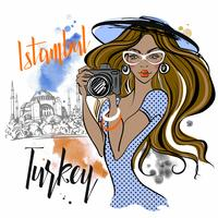 The girl travels to Turkey and photographs the sights . Istanbul Hagia Sophia. Vector.