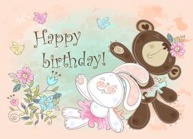 Carta di compleanno con un coniglio e un orso. Vettore