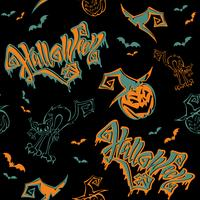 Naadloos patroon. Halloween. Belettering. Grappige cartoon pompoen monster in heks hoed. Knuppel. Cat monster. Vector.