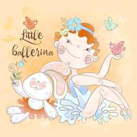 Little ballerina girl with a Bunny toy . Vector.