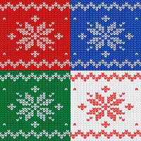 Seamless pattern. Knitted fabric. Ornament snowflake. Wool. Winter decor. Red. Vector.
