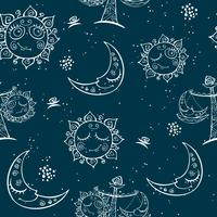 Sun moon Libra . Children's fun seamless pattern. Vector