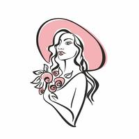 Portrait of a girl in a hat with flowers. Vintage. Elegant girl model. Vector
