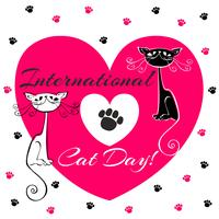 Internationale dag van katten. Kerstkaart. Witte en zwarte katten. Cartoon-stijl. Grappige grappige kittens. Cat's footprints. Hart. Vector illustratie.