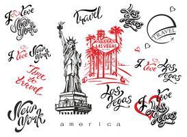 STATI UNITI D'AMERICA. Set di elementi per il design. Las Vegas. New York. Schizzi di punti di riferimento. Statua della Libertà. Lettering ispiratore. Modelli di etichette già pronte. Vettore.