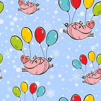 Seamless pattern. Flying pigs on balloons. The sky snowflakes. Vector.