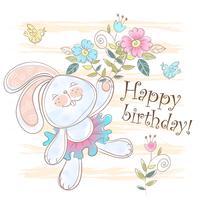 Tarjeta de cumpleaños con un lindo conejito. Vector