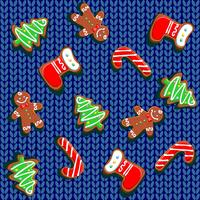 088a.epsKnitted fabric with gingerbread and snowflakes. Seamless pattern. Vector.