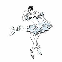 Ballerina. Witte Zwaan. Ballet. Dans. Vector illustratie.