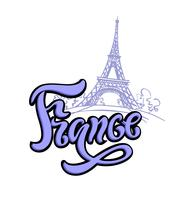 Reizen. De reis naar Frankrijk, Parijs. Belettering. Een schets van de Eiffeltoren. Het ontwerpconcept voor de toeristenindustrie. Vector illustratie.